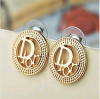 (At least $10) France Top quality Cheap Price Wholesale Alloy D Women Stud Earrings Free Shipping