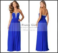 2015 Vestido De Feata Rhinestone Beading Sweetheart Off Shoulder Formal Dress Royal Blue Long Evening Dress Elegant Prom Dress