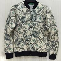 (Alice)2014 New Women/ Men Dollars print cardigan funny 3D Sweatshirts jacket money coat funny Galaxy baseball Hoodie