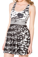 2015 Black & White Summer Fall Galaxy Dress Print The Wicked Witch Of The West Reversible Skater Women Dresses