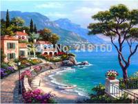 DIY Diamond Painting full whole resin drill square diamond painting rhinestone pasted cross stitch Mediterranean Coast