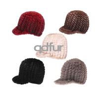 2014 Autumn Ladies' Genuine Knitted Mink Fur Hats Caps Winter Women Fur Beanies Female Headgear QD30479