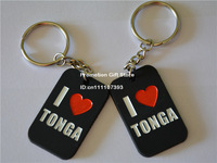 I Love TONGA Silicon Keychain, Personalized Design Silicon Dog Tag Key Ring, Promotion Gift, 50pcs/Lot, Free Shipping