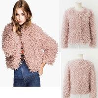 Elegant Autumn Thick Women Faux Fur Shaggy Jacket High Street Collarless Button Long Sleeve Coats Warm Short Outerwear Overcoat