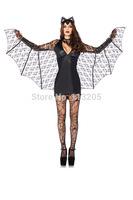 2014 New Adult Women's Black Evil Vampire Bat Wings Demon Suit Halloween Animal Costume Outfit