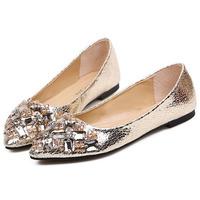 New 2014 Luxury Bling Pu Pointed Toe Rhinestone Women Flats Fashion Crystal  Brand Flat Shoes for Women Ballerinas Free Shipping