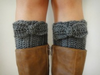 Womens Boot Socks Knit Let Warmers Crochet Boot Cuffs with bow