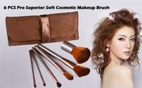 5 pcs/lot sex products 6 pcs new soft coffee cosmetic makeup brush set bag case tool professional brushes makeup sv18 sv010645