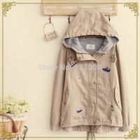 Japanese 2014 New Mori Girl Autumn Fashion Women Boat Embroidery Cotton Long-Sleeve Hooded Jackets,Female Casual Coats  al050