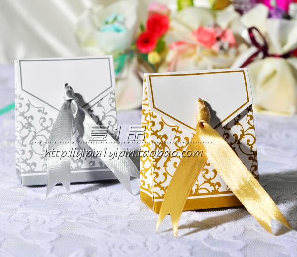 Free Shipping 100pcs Gold and Silver Ribbon Wedding Favour Box Party Candy Box Favor Gift Boxes Wedding Box(China (Mainland))