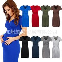 Women's Maternity Dress Elegant Office Short Sleeve Stretch Dress Tunic V neck