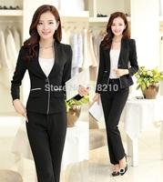 Plus Size 4XL Elegant Black Uniform Style Formal Pantsuits Fashion Slim Women Work Wear Suits Jackets And Pants Pants Set