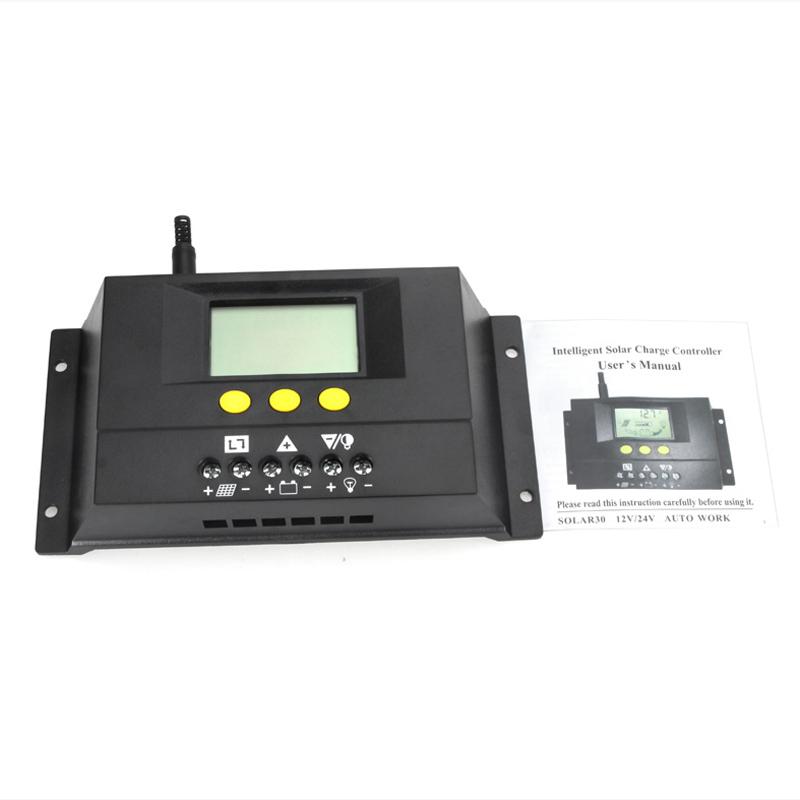 30A 12V/24V Intelligent LCD PWM Solar Charge Charger Controller Solar Panel Battery Regulator controlador de carga(China (Mainland))