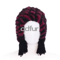 New Style Stylish Ladies' Genuine Knitted Mink Fur Hats Caps Winter Women Fur Beanies Female Headgear QD30478