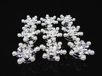 2015 free shipping Bridal Hair Accessories  12 Pcs Snowflake Pearl Twists Spins Pins
