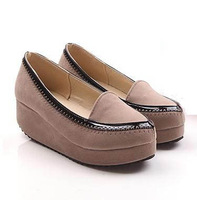2014 New Fashion Pointed Toe Slip-on Women Wedges Height Increasing Platform Wedges for Women Comfortalbe Loafers Free Shipping