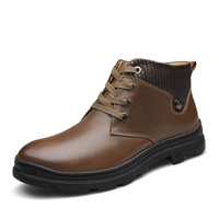 2014 Men's Winter Thermal Cotton-Padded Shoes High Sports Casual Leather Plus Velvet Genuine Leather Boots big size 45464748