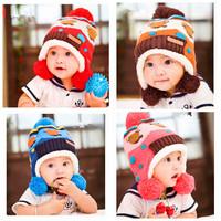 Baby velvet ear children ear knitted hat cap boys girls Hanging double ball hats caps Winter Ear Flap Warm Hat