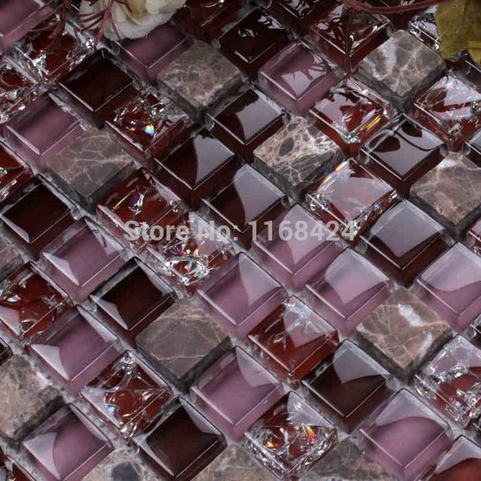 Azulejos Para Baño Color Lila:azulejos de mosaico púrpura mosaico de vidrio de color cuadrado para
