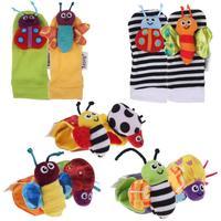 2pcs/set 2014 New Lovely Baby Socks Toys Wrist Rattles & Foot Finders Multi color Developmental
