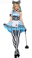 2014 New Adult Women's Alice in Wonderland Adult Halloween Party Maid Smiley Cat Costume Fancy Dress Free Shipping