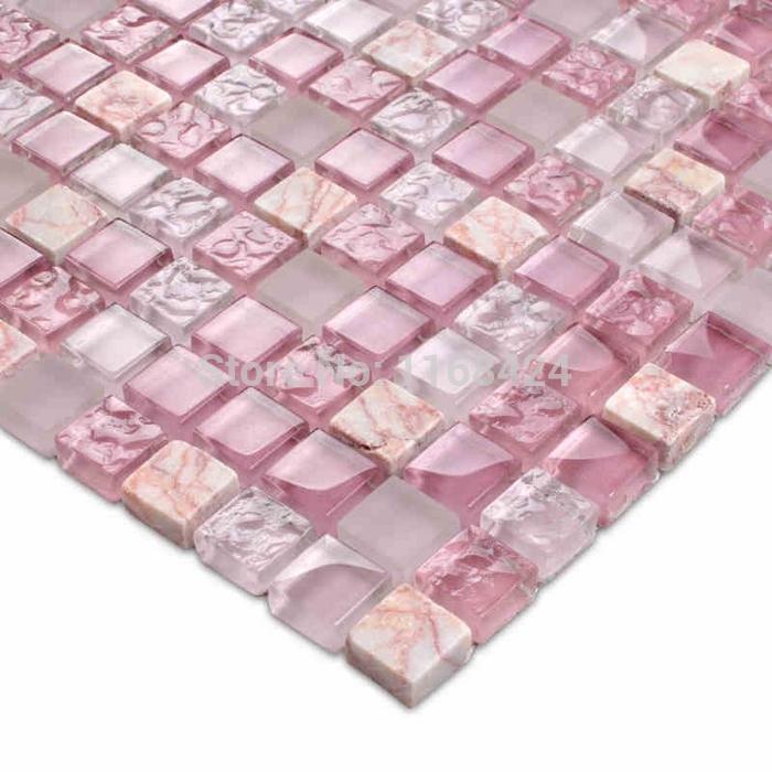 Azulejos Baño Color Rosa:De color rosa romántico vidrio cristalino del mosaico azulejos