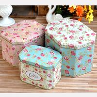 3pcs/set Romantic flower cakes octagonal storage tin box cookies box rose Candy box HD0192