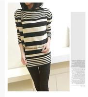 free shipping ! girl's striped wool sweater 2014 women's plus size fall clothing XXXL female knitting cardigan