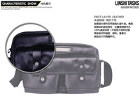 Hotsale elegant genuine leather man fashion black messenger bags ,cow leather casual bags L134AA02