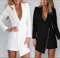 women sexy coat costumes v neck zipper long blazer party club dresses fashion clothes freeshipping