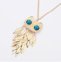 cxt92523  Bib Bubble Long Necklace  Vintage Owl Gold Tassel Rhinestone Pendants Statement