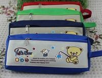 Sweet Fishing Bears Canvas 19.5CM Kids School Pen Pencil BAG Case Pouch ; Cosmetics Purse BAG & Wallet Coin Pouch BAG Case