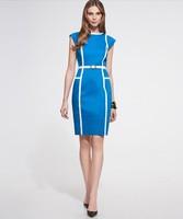Plus size XXL 2014 New women pencil Dress Women Vintage elegant office Dress Fashion Vestidos winter autumn dress blue yellow