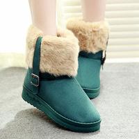 Flat fur boots belt buckle boots snow boots warm thick scrub size us 6-10