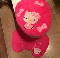 Plush Hello Kitty Toilet Set (Toilet seat cushion+Mat+Seat Cover) bathroom overcoat toilet case free shipping