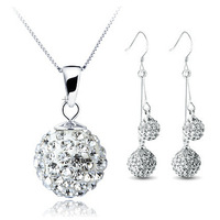 Fashion Double Drop Shamballa Set 100% Silver 925 Sterling Silver Jewelry Sets  Necklace + Earring Solid Silver