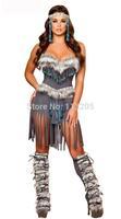 2014 Sexy Aboriginal Indian Women Halloween Animal Costume, Native American Savage Fur Clothing For Women Free Shipping