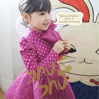 Hu sunshine wholesale 2014 Girls long-sleeved dress stitching dots kids dress