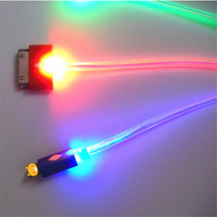 New sale ( Red Blue green Visible ) 20cm 3in1 LED Light USB Sync Data Charger Cable For iPhone 5 5S 4S Samsung HTC free shipping