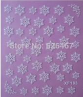 Fashion 1 piece 1Sheet 3D Design Tip Nail Art Nail Sticker Nail Decal carving white snow flower nail tools 183