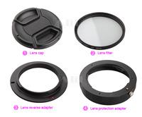 For Pentax 5in1 Macro lens reverse adapter protection for K-50 K-3 K-5 IIs 645D K-S1 re-installed 52mm UV filter lens cap hood