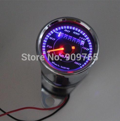 Universal Motorcycle Dual Odometer Speedometer Gauge 12 V LED Backlight Signal Light Dirt Sports Street Bikes ATV CBR GSX R ZX(China (Mainland))