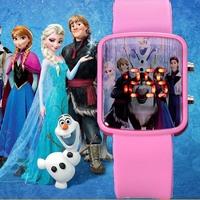 Watch Women New Fashion Silicone Pink Cute Frozen Watch Cartoon Children Kids Girls Quartz Led Digtal Watches hour gifts relojes
