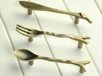 New arrival 15pcs Bronze color Spoon Knife Fork Kids Bedroom Furniture Knobs Kitchen Cabinet Cupboard Closet Drawer Handle Pulls