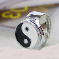 2014 Western Vintage Style Fashion Personality Watch Yin yang Ring Ancient Silver Rings For Men Adjust Ring Jewelry Accessories