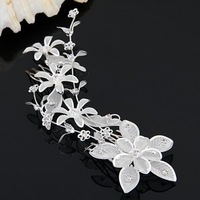 2PCS Silver Plated Crystal Flower Leaf Bridal Tiara 2 Hair Slide Comb Pin