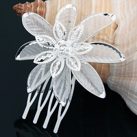 2PCS Silver Plated Crystal Flower Bridal Tiara Mini Hair Comb Pin