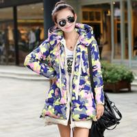 2014 new Korean military camouflage winter fashion thicker  long down jacket women coat parka winter coat women