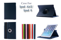 Free Shipping NEW arrival 360 degree rotated case stand cover flip protective shell skin for iPad Air 2 for iPad 6