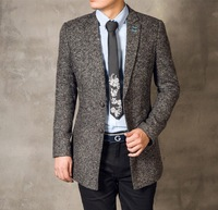 Fashion long style mens blazers Sesame suit Slim fit man coats Trend woolen cloth Free shipping New 2014 Autumn winter
